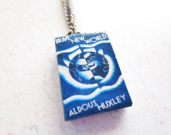 Brave New World by Aldous Huxley Vintage Cover Handcrafted Miniature Book Necklace Gunmetal Chain
