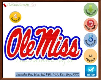 Ole MISS EMBROIDERY DESIGNS Pes, Hus, Jef, Dst, Exp, Vp3, Xxx, Vip