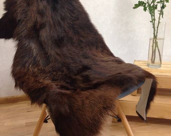 "Brown goat skin, fur rug, goat hide, goat pelt, boho home, boho decor, small ""cowhide"" rug"