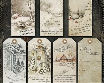 Digital Christmas Tags, Printable Christmas Tags, Vintage Christmas Tags, Christmas Gift Tags, Old fashioned Holiday Tags, Gift Tags