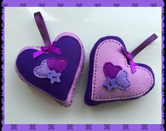 Hand stitched purple hanging hearts, home decor, any occassion, set of 2 hanging felt hearts. (HH009)