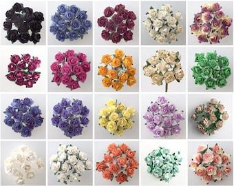 Paper Tea Roses,  Mini Craft Flowers, Artificial Flowers, Paper Flowers, Wedding Favour Decor, Stationery Decoration, Wedding Embellishment