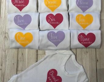 Hearts Monthly Milestone Baby Vests