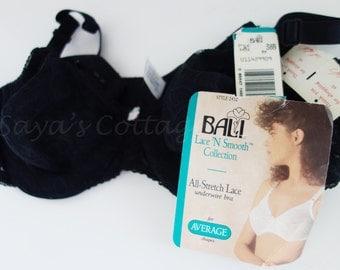 Vintage NEW w/ Original Tags 1960s Bali Bra 38B  Black Chantilly Style Lingerie Bali Lace N Smooth Collection All Stretch Lace Underwire Bra