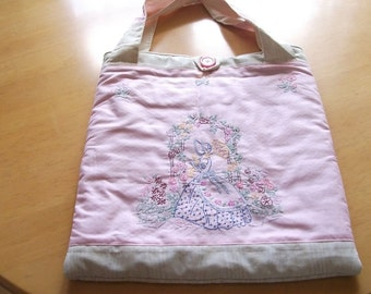 Handmade Pink and Cream Tote Bag with Embroidered Lady on Front