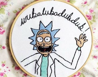 Handmade Rick and Morty 'Wubalubadubdub' Embroidery Hoop - 6""
