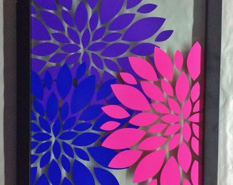 Purple blue and pink flower vinyl on floating glass picture frame
