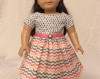 Gray dots and zig zags dress