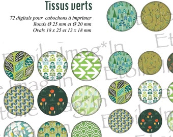 Board 72 digital * tissue green * to print for cabochons