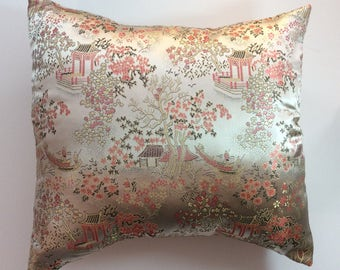 Peach satin Asian Pillow Cover, designer pillow,