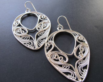Autumn Equinox Argentium Sterling Silver Filigree earrings