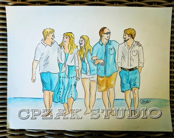 Custom fun family watercolor portrait
