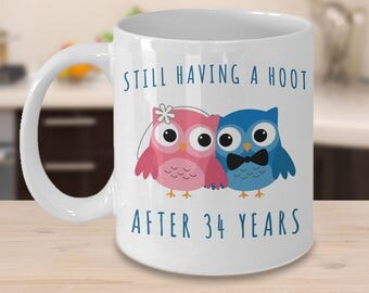 34th Anniversary Coffee Mug Still Having a Hoot After 34 Years Together Thirty-Fourth Wedding Anniversary Gift for Him Thirty-Four Cup