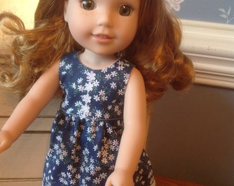 Daisy print doll dress for Wellie Wisher or Hearts 4 Hearts doll