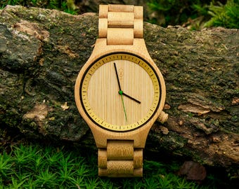 Robin Wood, bamboo wood wrist watch for him, minimalist design, japanese movement, mineral glass, 100% vegan. Be eco, plant a tree!