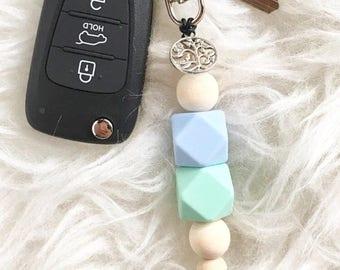 Pretty Key Ring - Beaded Key Ring- Tree of Life Key Ring - Key Chain - Cute Key Ring - Ladies Gift - symbolic gift - bag tag - bag bling