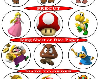 Super Mario pre-cut edible cupcake toppers, 2 sizes