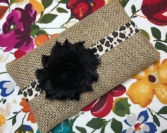 Leopard print elastic headband w/ black flower