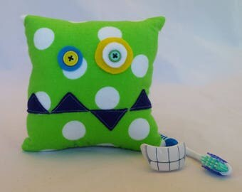Monster Tooth Fairy Pillow - green dots, navy teeth, green back