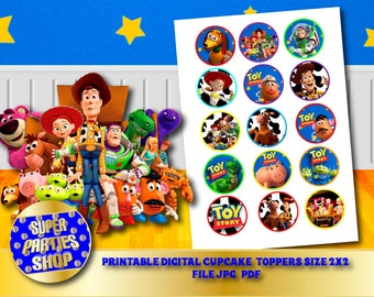 Toy Story Digital  Printable Party Cupcake Toppers , Custom Party, ,Birthday,Toy Story