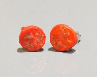 Realistic miniature tomato slice earrings (butterfly back stud)