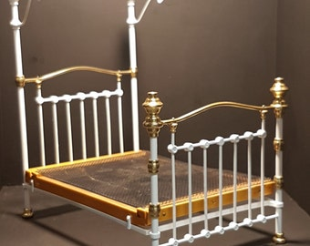 Miniature edwardian brass bed 1:12 scale.