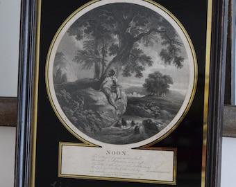 Antique Engraving,Islington,London engraving,antique,framed engraving,wall decor,England,wall art,black and white,London skyline,vintage art