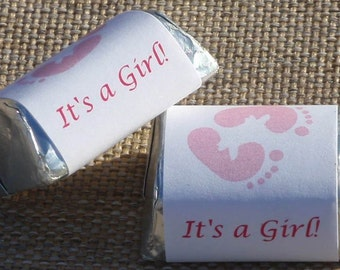 30 Its a girl pink footprints baby shower party nugget candy favors  (candy not included)