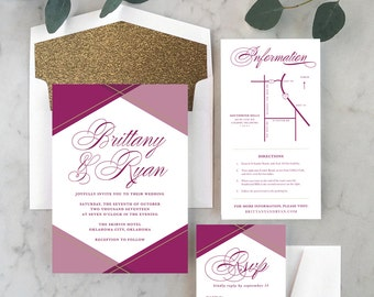 Classic Colorblock Wedding Invitations