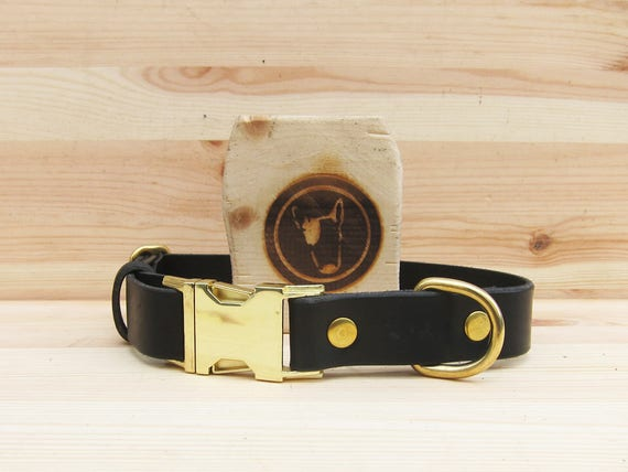 Black Dog Collar, Quick Release Dog Collar, Leather Dog Collar, Side Release Metal Buckle Dog collar, Durable Dog Collar, Comfort Dog Collar