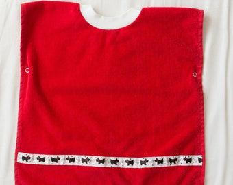 Personalized, Scottie Dog Baby or Toddler Towel Bib, Handmade Gender Neutral Baby Shower Gift, Pullover Full Coverage Bib, Toddler Art Smock