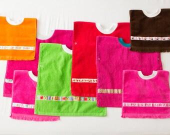 Personalized, Girl Baby or Toddler Towel Bibs, Handmade Coverall Bib, Girl Baby Shower Gift Item, Toddler Art Smock