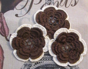 Crochet flowers  black & white - browns -blues -pink / green camouflage