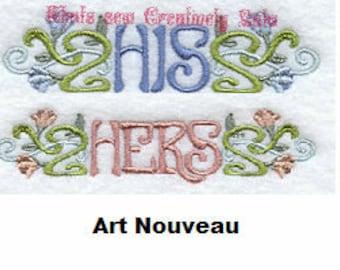 His and Hers Towel Set - Art Nouveau
