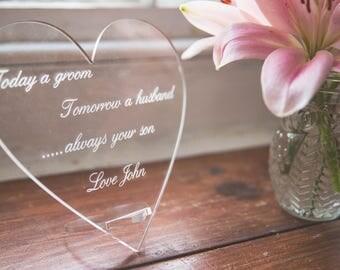 Mother of the groom gift - Acrylic Heart