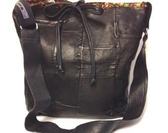 Leather Patchwork Messenger Bag, Black Leather. Shoulder Bag.One of a kind.Statement Bag. Large Bag.Bag for her.Unique gift for her