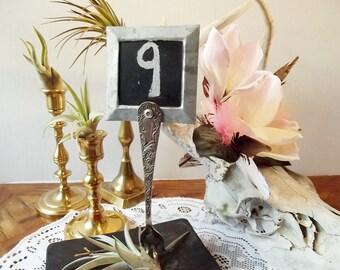 vintage fork table number standsset of 13mini