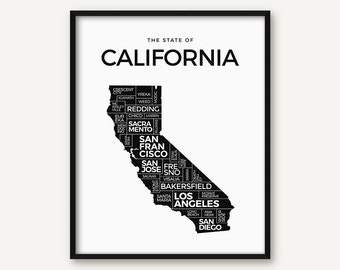 California Print, California Map Print, California Poster, California State Decor, California Art, Black and White California Wall Art
