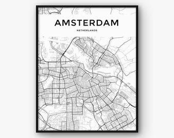Amsterdam Map Print, Amsterdam Print, Amsterdam Poster, Amsterdam Wall Art, Amsterdam Decor, Amsterdam City Map Print, Netherlands Print