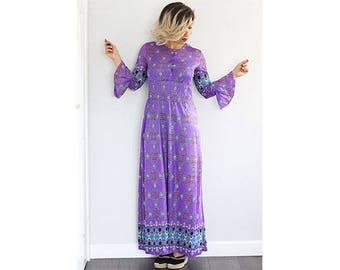 Vintage 1970s purple printed frill statement sleeve maxidress
