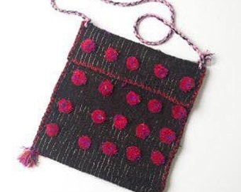 Mexican Shoulder Bag :Maya-Tsotsil shoulder strap bag with pom poms and tassels