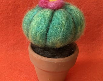 Potted tiny felted cactus