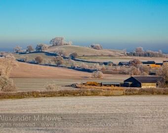 Frosty Morning in Warwickshire Landscape - England Fine Art Print