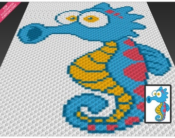 Little Seahorse crochet blanket pattern; c2c, cross stitch; knitting; graph; pdf download; no written counts or row-by-row instructions