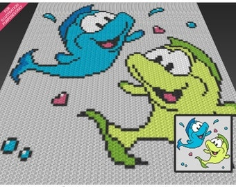 Playful Fish crochet blanket pattern; c2c, cross stitch; knitting; graph; pdf download; no written counts or row-by-row instructions