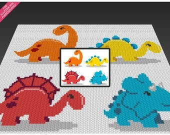Four Dinosaurs crochet blanket pattern; c2c, cross stitch; knitting; graph; pdf download; no written counts or row-by-row instructions