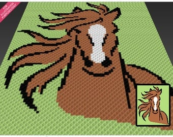 Wild Horse crochet blanket pattern; c2c, knitting, cross stitch graph; pdf download; no written counts or row-by-row instructions