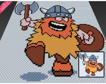 Victorious Viking crochet blanket pattern; c2c, knitting, cross stitch graph; pdf download; no written counts or row-by-row instructions