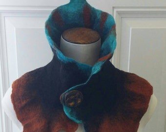 Gorgeous Rust Blue and Black Cowl Neck Warmer