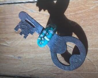 Teal Dreams... Vintage Lampwork Key